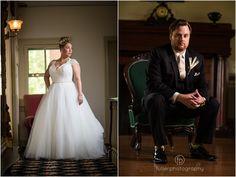 Portrait of the bride and groom inside the farmhouse at a Springton Manor Farm wedding