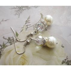 Bridal Jewelry, Wedding, Pearl Dangle Earrings, Ivory glass pearl with... ($7.90) ❤ liked on Polyvore featuring jewelry, earrings, pearl jewelry, pearl bridal jewellery, pearl dangle earrings, crystal dangle earrings and ivory pearl earrings