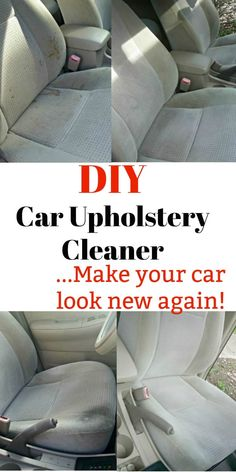 DIY Car Upholstery Cleaner: Make Your Interior Look Brand New! This DIY car upholstery cleaner will get your interior looking like new in no time. I love cheap car hacks that are simple and can be used on multiple fabrics. Car Cleaning Hacks, Deep Cleaning Tips, House Cleaning Tips, Diy Cleaning Products, Cleaning Inside Of Car, Car Products, Cleaning Solutions, Car Seat Upholstery, Cleaning Car Upholstery