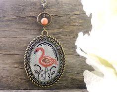 Crocus Hand embroidered pendant Cross stitch by IrinaJourba