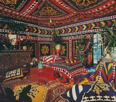 Angelo Donghia's tented room in Vogue, March 1971.