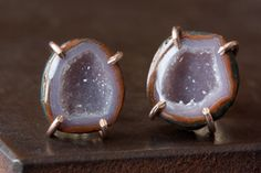 one of a kind geode studs, rose gold  #alexisrusselljewelry