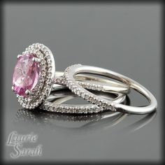 Pink Tourmaline Diamond Double Halo Engagement Ring with 2 Wedding Bands - LS1063. $2,932.50, via Etsy.