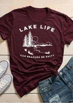 Lake Life Burgundy O-Neck Tshirt