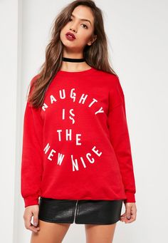 Missguided - Red naughty nice spliced christmas sweatshirt