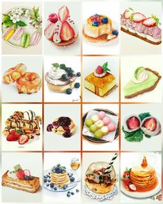 These are for you, L (but don't eat them all at . oh too late! Food Menu, A Food, Food And Drink, Cute Food, Yummy Food, Food Art Painting, Dessert Illustration, Food Sketch, Watercolor Cake