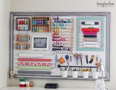 Extra Large Pegboard Craft Room Organization – I Love This Pegboard Idea How she Put the Frame around the board as well! She doesn't have a designated craft room but an extra large LR so she devoted a corner of her LR for her craft area – Great idea wh Pegboard Craft Room, Pegboard Organization, Craft Room Storage, Craft Rooms, Organization Ideas, Storage Ideas, Wall Storage, Organizing Tools, Craft Studios