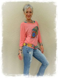 PEACOCK FEATHER top Loose top Hand painted clothes Baggy by GPyoga, $59.00