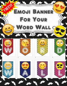 Your students will love these Emojis! These can be printed one letter banner to… 4th Grade Classroom, New Classroom, Primary Classroom, Kindergarten Classroom, Classroom Decor Themes, Classroom Organization, Emoji Room, Emoji Decorations, Class Decoration