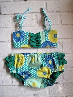 Teal Baby Bikini, Polka Dot Ruffle Sun Suit, Rockabilly Baby, Vintage Style Swimsuit, Cake Smash Outfit, Rockabilly Sunsuit, Retro Play Suit