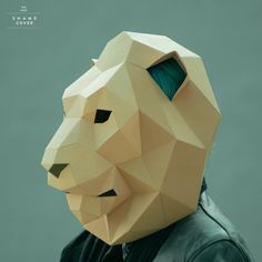 Lion Mask, Cat Mask, Low Poly, Cardboard Mask, How To Build Steps, Yard Sculptures, Mask Template, Printable Animals, Paper Mask