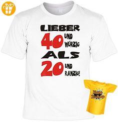 Modisches Herren Fun-T-Shirt als ideale Geschenkeidee im Set zum 40. Geburtstag + Mini Tshirt Baujahr 1976, Farbe: weiss (*Partner-Link)