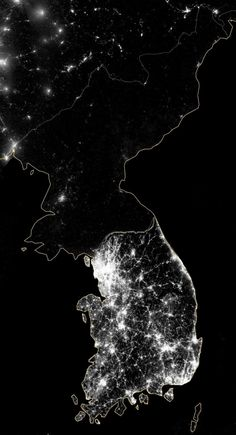 North Korea at night: A night-time aerial view of oppression. Thanks to modern technology, we can see the effects of rigid ideologies from the stars.