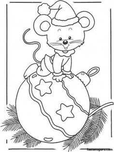 Printable coloring pages of Christmas mouse - Printable Coloring Pages For Kids