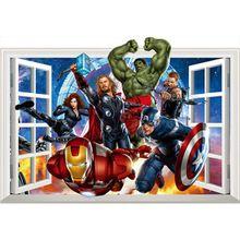 The Avengers film faux fenêtre autocollants Super Hero figures 3d effet vinyle stickers décoration pour les chambres d'enfants anime affiches(China (Mainland))