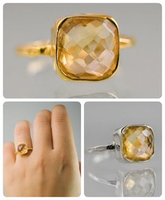Our Cushion-cut Citrine Ring. Available in Gold Vermeil & .925 Sterling.