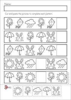 Kindergarten SPRING Math & Literacy unit. 93 pages in total. A page from the unit: Patterns: