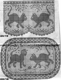 cat cross stitch charts or filet crochet charts Filet Crochet Charts, Crochet Diagram, Knitting Charts, Cross Stitch Charts, Cross Stitch Patterns, Knitting Patterns, Crochet Patterns, Gato Crochet, Crochet Cross