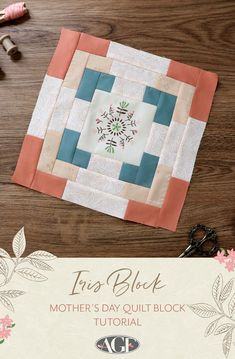 I believe this quilt block would be ideal to be turned into a mother's day quilt! You get to fussy cut your favorite design for the center and use these soft colors that are ideal for the spring too. It's worth mentioning that this block is super easy to make, you'll be able to whip one up in no time and make your mom feel extra special for the holiday! Sewing Tutorials, Sewing Projects, Sewing Patterns, Art Gallery Fabrics, Free Sewing, Soft Colors, Mother Gifts, Quilt Blocks, Super Easy