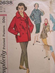 See Sally Sew-Patterns For Less - Car Coat Single or Double Breasted Vintage Simplicity 2638 Pattern Sz. 16, $8.99 (http://stores.seesallysew.com/car-coat-single-or-double-breasted-vintage-simplicity-2638-pattern-sz-16/)