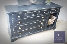 Black Distressed Dresser / Buffet / Changing by Indigo Interiors on etsy www.IndigoInteriors.etsy Painted Chalk Paint basket wired wire industrial burlap glass knobs crystal knobs entry table console chest rustic farm house chic pottery barn style wood dining room nursery changing table bedroom furniture
