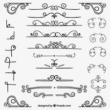 Variety of ornamental decoration Free Vector Bullet Journal Font, Bullet Journal Ideas Pages, Doodle Designs, Drawing Designs, Decorate Notebook, Lettering Tutorial, Vintage Greeting Cards, Letter Art, Word Art