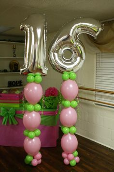 """How to Build a """"Sweet 16 Link-a-Loon Column"""" featuring Bubble Gum Pink and Lime Green Balloons. http://youtu.be/JWBYCMZyJnk"""