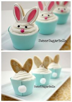 CUTE!  Cookie ears on the bunny cupcakes!
