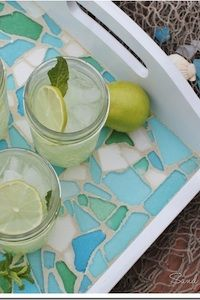 Sea Glass Mosaic Tray- a ton of pretty craft projects!