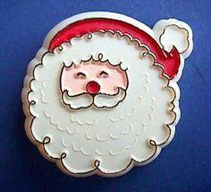 Hallmark PIN Christmas SANTA CLAUS Face Vtg Xmas Flat Style 1970s Holiday BROOCH