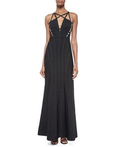 Sleeveless Cage Cutout Gown, Black by Herve Leger at Neiman Marcus.