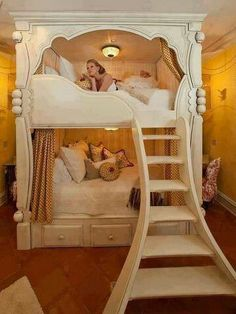 Beautiful bunk bed for much bigger kids! Heck I'm way older and I still want this!