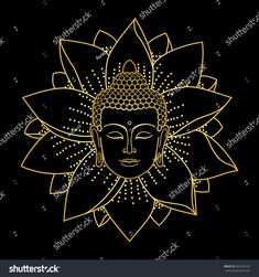 Gold Buddha Head and Lotus isolated on black background. Sign for tattoo, textile print, mascots and amulets.