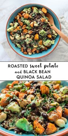 #Salad season has started this year and this #Roasted #Sweet #Potato and Black #Bean #Quinoa Salad is a family favourite at the moment.  If you are looking for a filling and healthy salad, look no more, you will love it. The best part: This salad is #vegan and #gluten-free, so it suits everyone! Best Salad Recipes, Tofu Recipes, Vegan Recipes Easy, Vegetarian Recipes, Avocado Recipes, Vegetarian Cooking, Yummy Recipes, Dinner Recipes, Side Dishes For Bbq