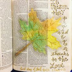 In unison, the praised and gave thanks to the Lord. #2chronicles #firstdayoffall #illustratedfaith #illuminatedjournaling #biblejournaling #journalingbible #crossway #bibleart #bible
