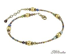 "Jewelry Making Ideas Beaded Anklets - Golden Sunset Pearl Beaded Anklet – swcreations - Handcrafted adjustable _"" pastel sunset beaded anklet created with Swarovski Austrian crystals, gold Swarovski pearls and sterling silver Beaded Anklets, Anklet Jewelry, Boho Jewelry, Beaded Jewelry, Unique Jewelry, Handmade Jewelry, Beaded Necklace, Jewelry Design, Beaded Bracelets"