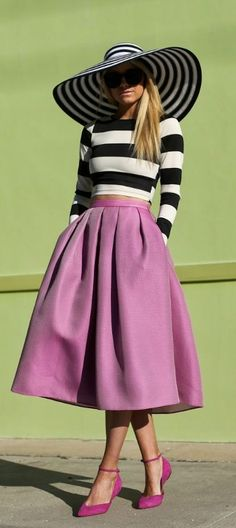 @roressclothes clothing ideas #women fashion striped hat, jumper, purple skirt, heels