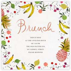 Online invitations and cards - Custom paper designs - Paperless Post Brunch Invitations, Online Invitations, Invites, Wedding Invitations, Its My Birthday Month, Online Cards, Paperless Post, Brunch Wedding, Lettering Design