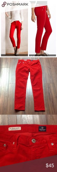 """AG Stevie ankle cords red pants In excellent condition, worn probably just once. No defects found. Inseam is 28"""" long. They are slim straight leg.   Bundle and save.                               d Anthropologie Pants Ankle & Cropped"""
