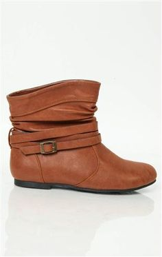 Short Flat Boot with Wrap Around Straps