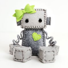 Plush Robot Girl With Bow and Heart - Pick Your Color - Robot Plush Doll - Girl Robot Nursery Decor and Gift Felt Crafts Diy, Recycled Crafts, Robot Nursery, Robot Girl, Felt Sheets, Felt Material, Found Object Art, Plush Pattern, New Dolls