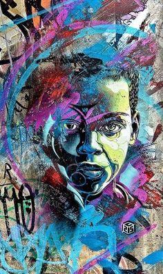 Street Art by French Artist 3d Street Art, Urban Street Art, Amazing Street Art, Street Art Graffiti, Street Artists, Urban Art, Amazing Art, African American Art, African Art