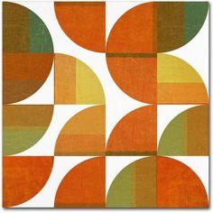 Trademark Fine Art Four Suns Quartered 3.0 inch Canvas Art by Michelle Calkins, Size: 18 x 18, Orange