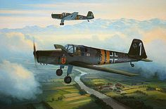 This aviation art print depicts two Buecker 181 Bestmanns of A/B 115, which was based at Wels in Austria between 1940 and 1945, on a routine training sortie.
