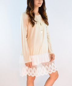 Look what I found on #zulily! Cream Lace Layered Swing Tunic #zulilyfinds