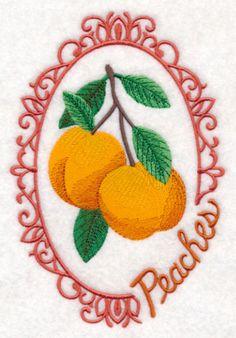 Fruit Cameo - Peaches design (M9675) from www.Emblibrary.com