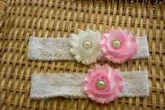 Pink and White Wedding Garter Set Bridal by ThePinkBunnyWeddings, $18.99