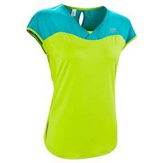 002922d3e RUNNING textil Ropa de mujer - Camiseta de manga corta de running mujer  Kalenji Eliofeel verde KALENJI