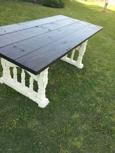 garden table made from old porch railings.