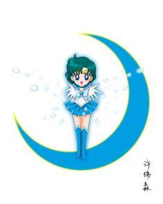 Chibi Sailor Mercury by xuweisen on DeviantArt Arte Sailor Moon, Sailor Moon Usagi, Sailor Jupiter, Sailor Moon Wallpaper, Sailor Mercury, Sailor Moon Crystal, Sailor Scouts, Anime Style, Line Art